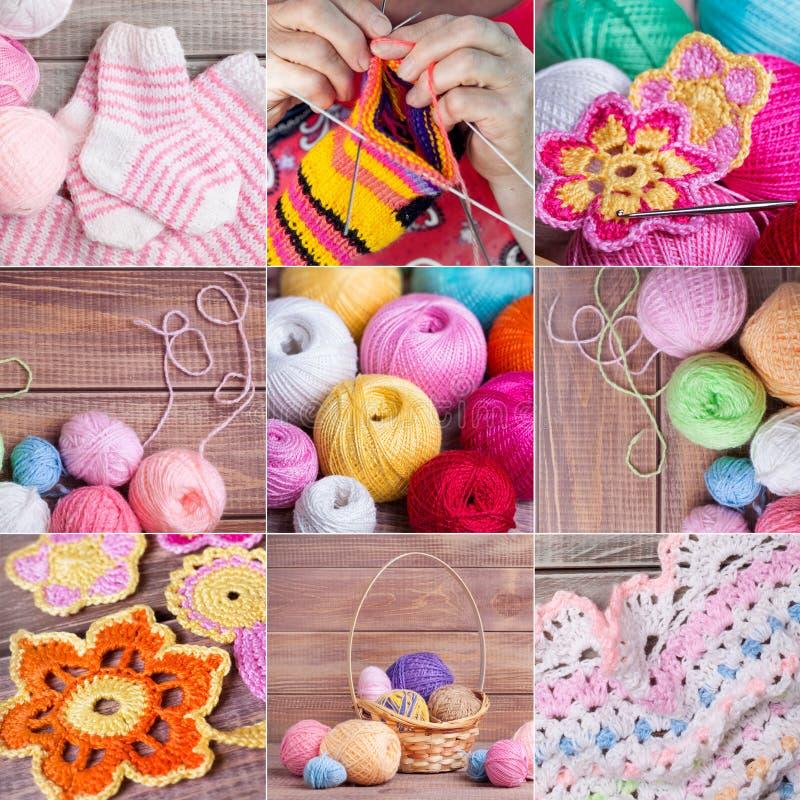 Kolaż kniting przedmioty zdjęcie stock