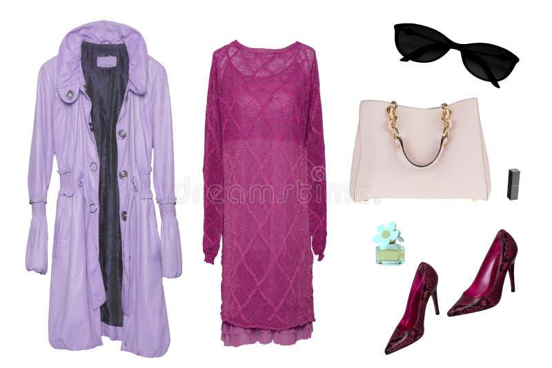 Kolaż kobieta odziewa Set eleganckie i modne kobiety pokrywa, ubiera, buty i akcesoria odizolowywający na białym tle opóźniony obraz stock