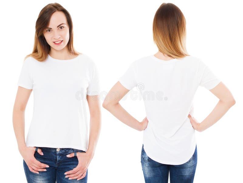 Kolaż kobieta w lata tshirt odizolowywającym na białym tle, ustawia dziewczyny w koszulce, puste miejsce, kopii przestrzeń obraz stock