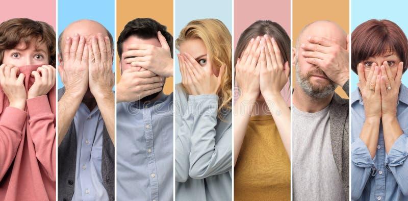 Kolaż kobiety i mężczyźni zakrywa twarz z oddaje zdjęcie royalty free