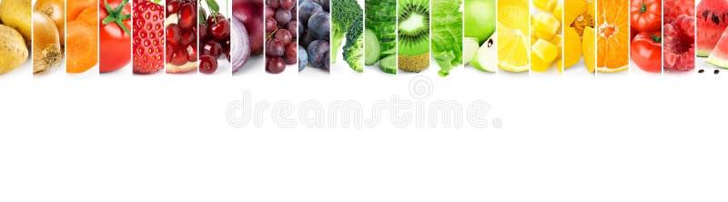 Kolaż kolorów owoc i warzywo Świeży dojrzały jedzenie szef kuchni pojęcia karmowa świeża kuchni oleju oliwka nad dolewania restau fotografia royalty free