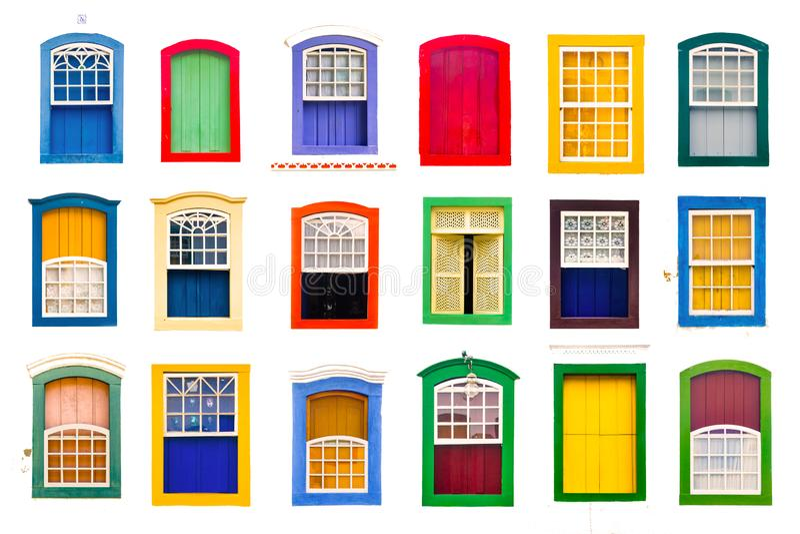 Kolaż kolorowego nieociosanego rocznika drewniani okno obrazy stock