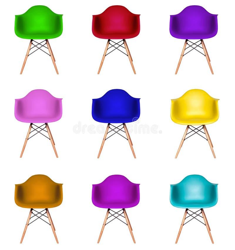 Kolaż kolorowi nowożytni krzesła odizolowywający fotografia royalty free