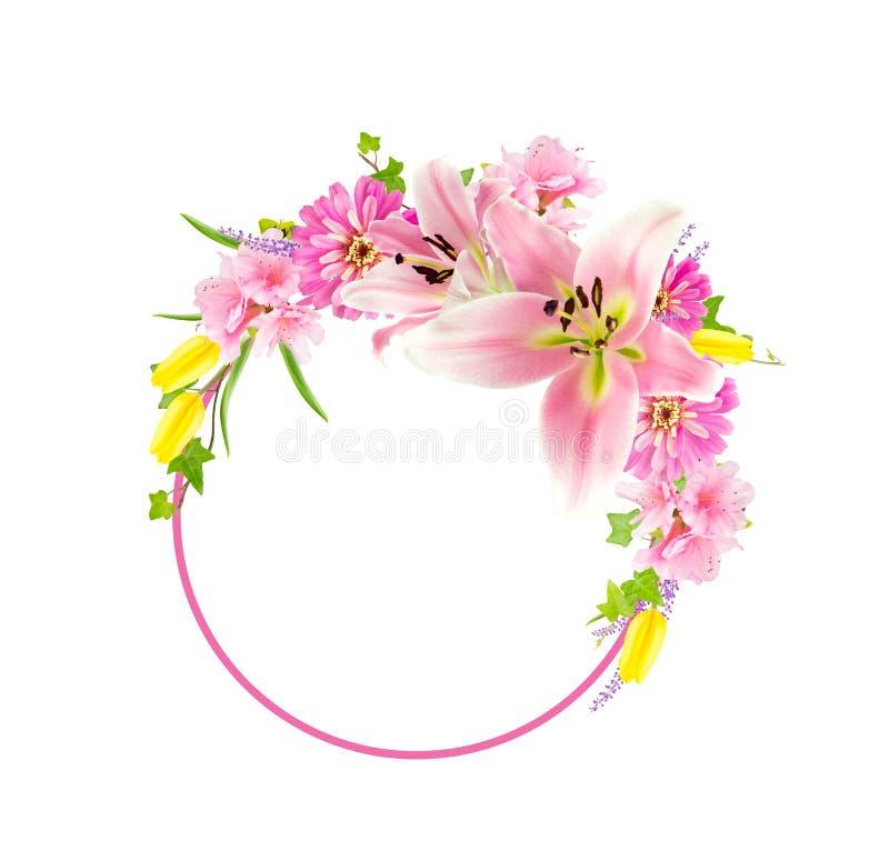 Kolaż kwiaty wokoło okręgu zdjęcie stock