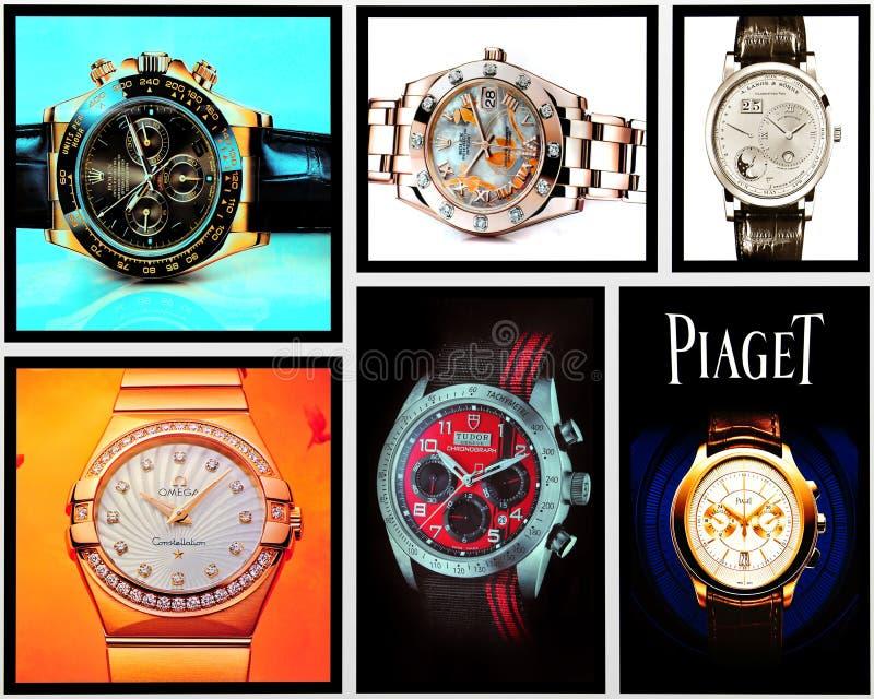 Kolaż luksusowi zegarki fotografia stock