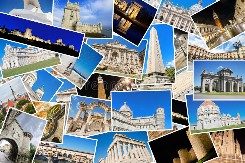 Kolaż mój najlepszy podróży fotografie sławni punkty zwrotni od Europejskich miast fotografia royalty free