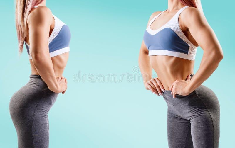 Kolaż młoda kobieta w sportswear demonstrował jej mięśniowego sportowego ciało obraz royalty free