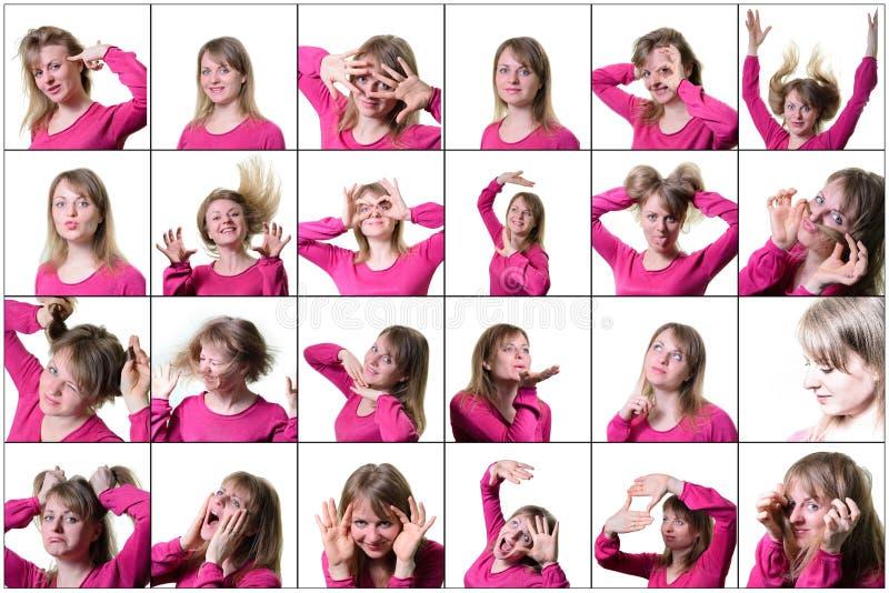 Kolaż młoda kobieta wyraża różne emocje i uczucia Na biały tle obraz royalty free