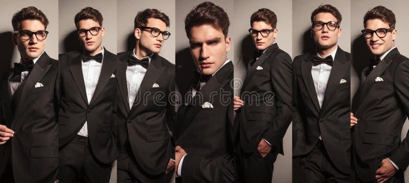 Kolaż młody elegancki biznesowy mężczyzna obrazy stock