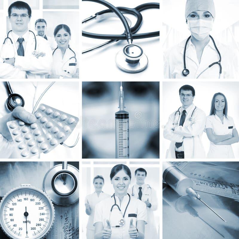 Kolaż medyczni wizerunki z młodymi lekarkami fotografia royalty free