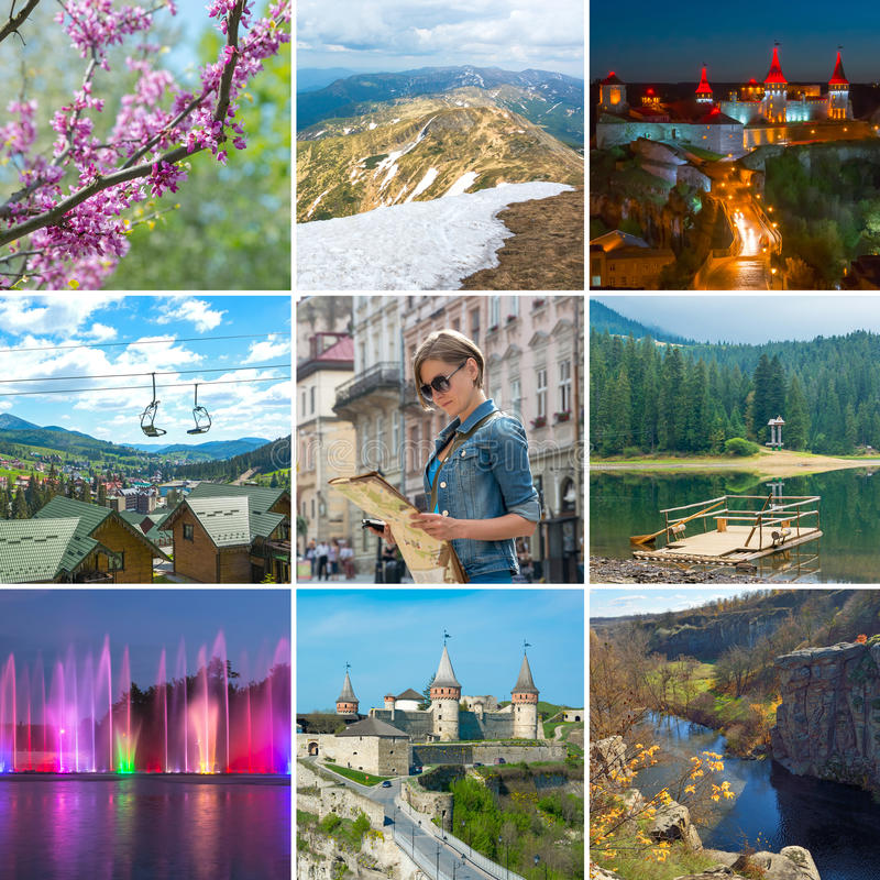 Kolaż na temacie podróż Ukraina obrazy royalty free