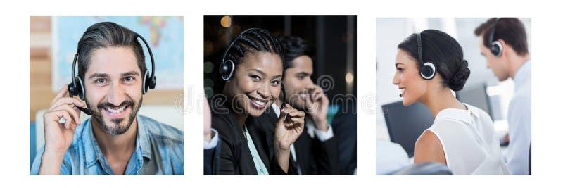 Kolaż obsługi klienta pomocy drużyna w centrum telefonicznym zdjęcia royalty free