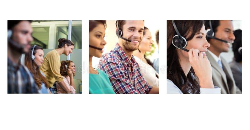 Kolaż obsługi klienta pomocy drużyna w centrum telefonicznym obrazy stock