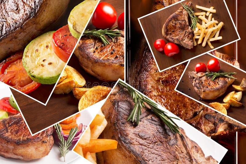 Kolaż od różnych fotografii piec na grillu mięso obraz royalty free