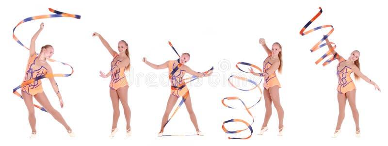 Kolaż pięć fotografii piękna elastyczna dziewczyny gimnastyczka nad w zdjęcie royalty free