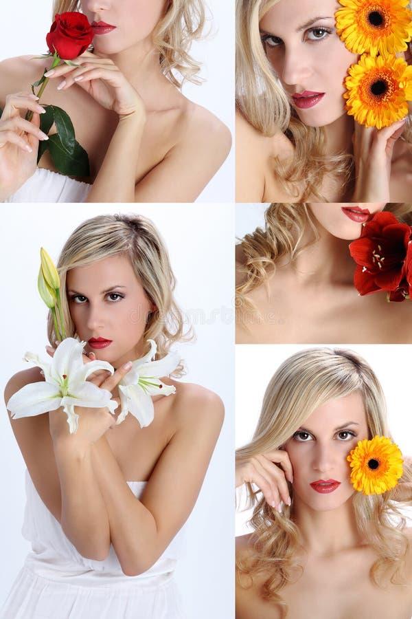 Kolaż piękna dziewczyna z różnorodnymi kwiatami zdjęcia royalty free