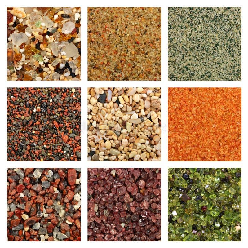 Kolaż piasek kolorowe próbki zdjęcia stock