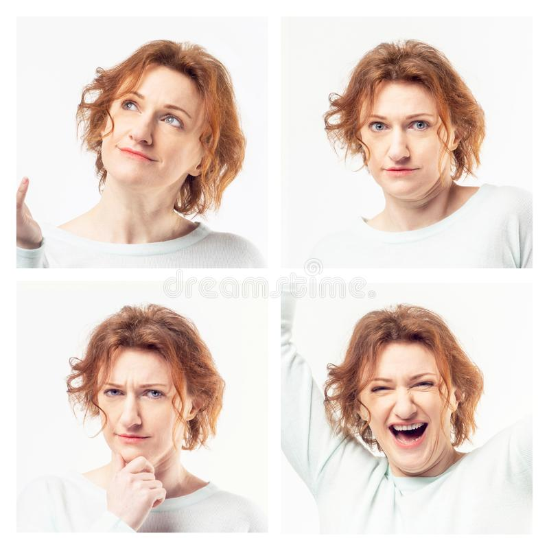 Kolaż pokazuje różne emocje kobieta zdjęcie stock