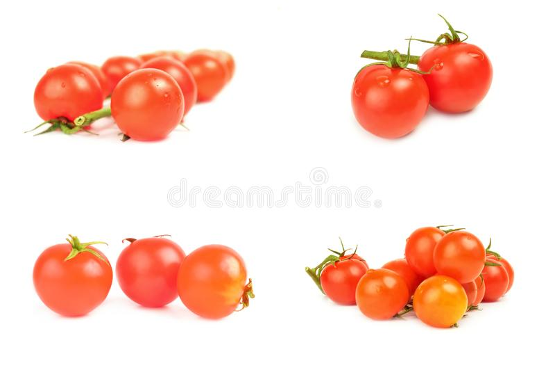 Kolaż pomidory czereśniowi zdjęcie royalty free