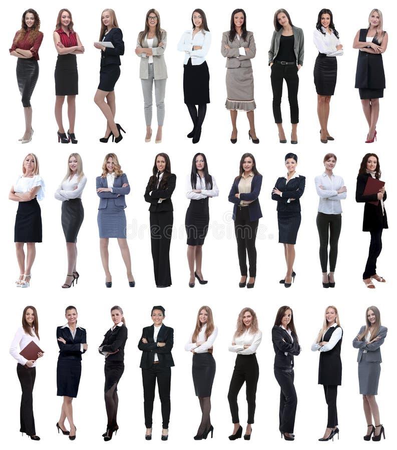 Kolaż pomyślny nowożytny bizneswoman Odizolowywający na bielu obrazy stock