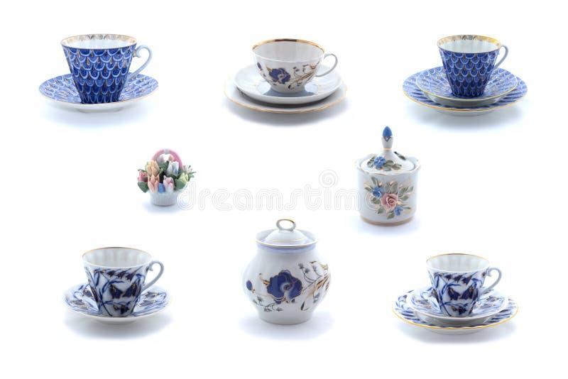 Kolaż porcelan herbaciane filiżanki naczynia z kwiatu ornamentem i fotografia royalty free