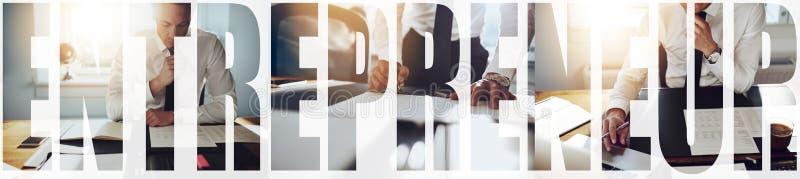Kolaż przedsiębiorcy pracującego samotnie przy biurku zdjęcie stock