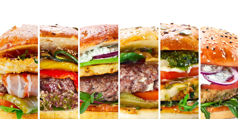 Kolaż różnorodni hamburgery zdjęcie royalty free