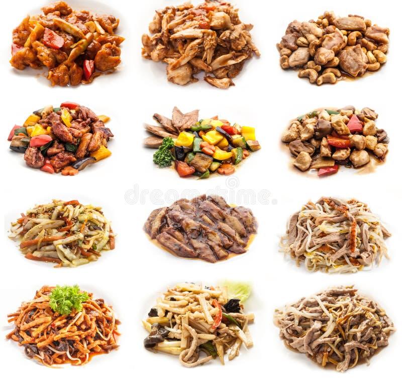 Kolaż różnorodni posiłki z mięsem i kurczakiem zdjęcie royalty free