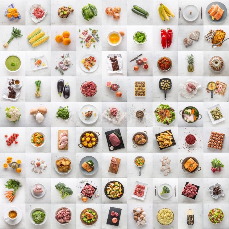 Kolaż różnorodny jedzenie i składnik Assotment warzywa frui zdjęcia royalty free