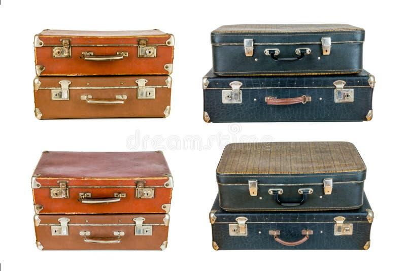 Kolaż retro podróży walizki na bielu zdjęcia stock