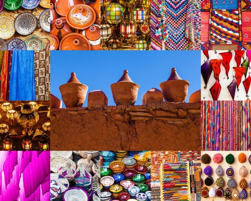 Kolaż rzemiosła od Maroko fotografia stock