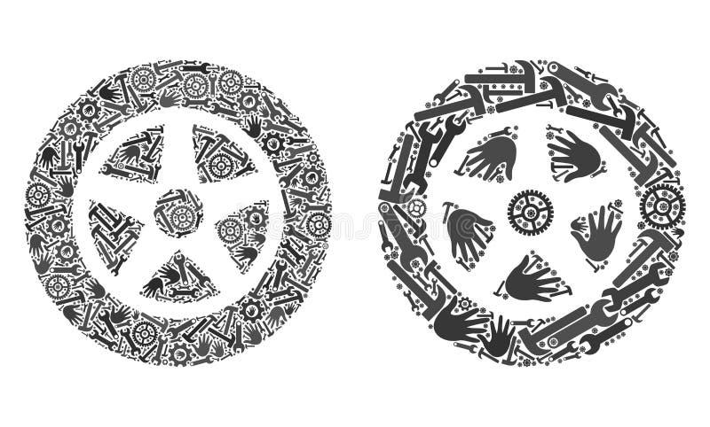 Kolaż Samochodowe Wheel1 ikony Usługowi narzędzia royalty ilustracja