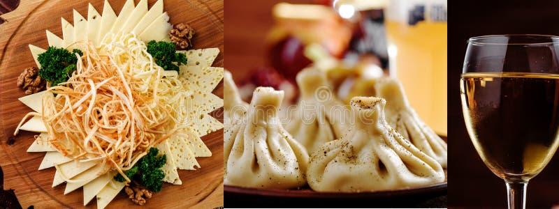 Kolaż serowy talerz, biały wino i hinkali, kluchy kola? Kolaż Gruzińska kuchnia Serie fotografie zdjęcie stock