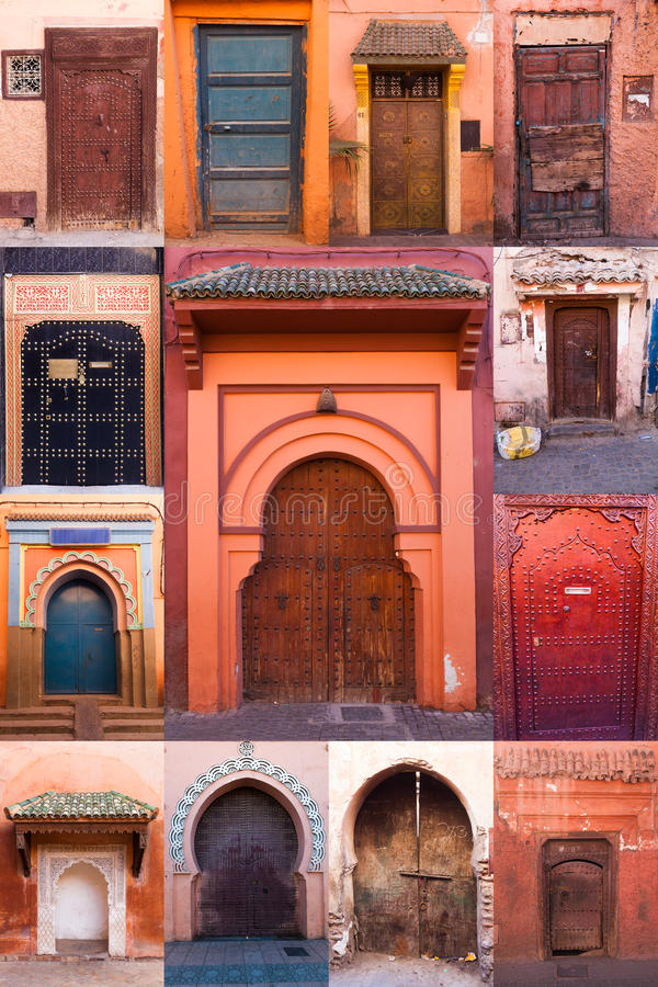 Kolaż starzy drzwi Marrakesh fotografia royalty free