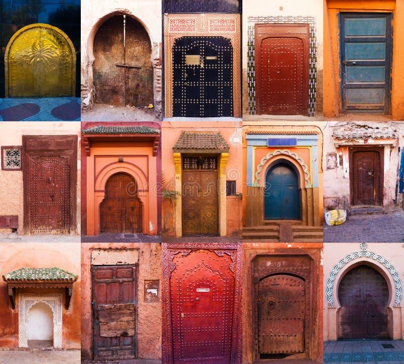 Kolaż starzy drzwi Marrakesh obrazy royalty free