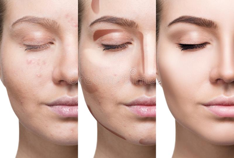 Kolaż stosuje makeup krok po kroku kobieta zdjęcia royalty free