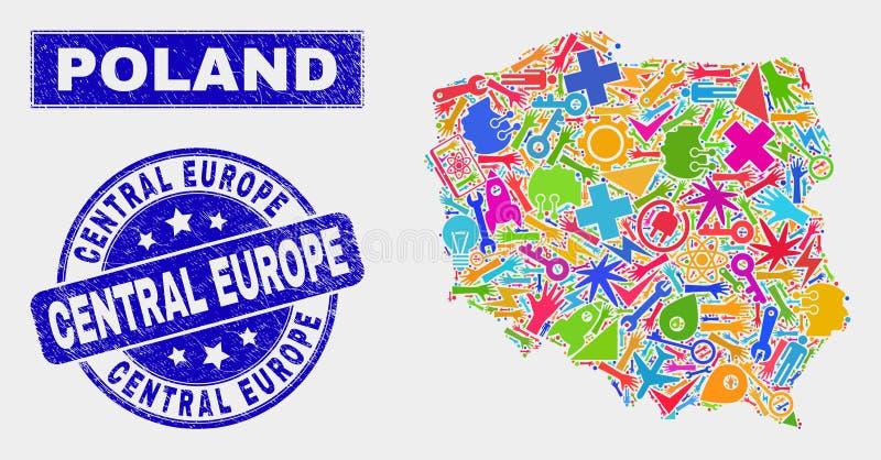 Kolaż technologii Polska mapa i cierpienia Europa Środkowy Watermark royalty ilustracja