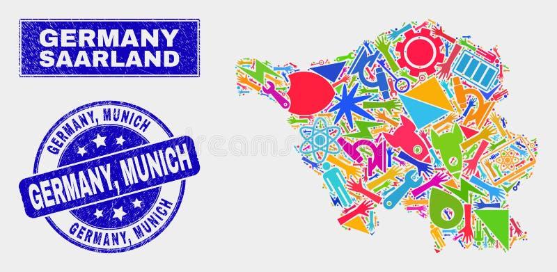 Kolaż technologii Saarland ziemi mapa i foka Porysowanego Niemcy, Monachium royalty ilustracja