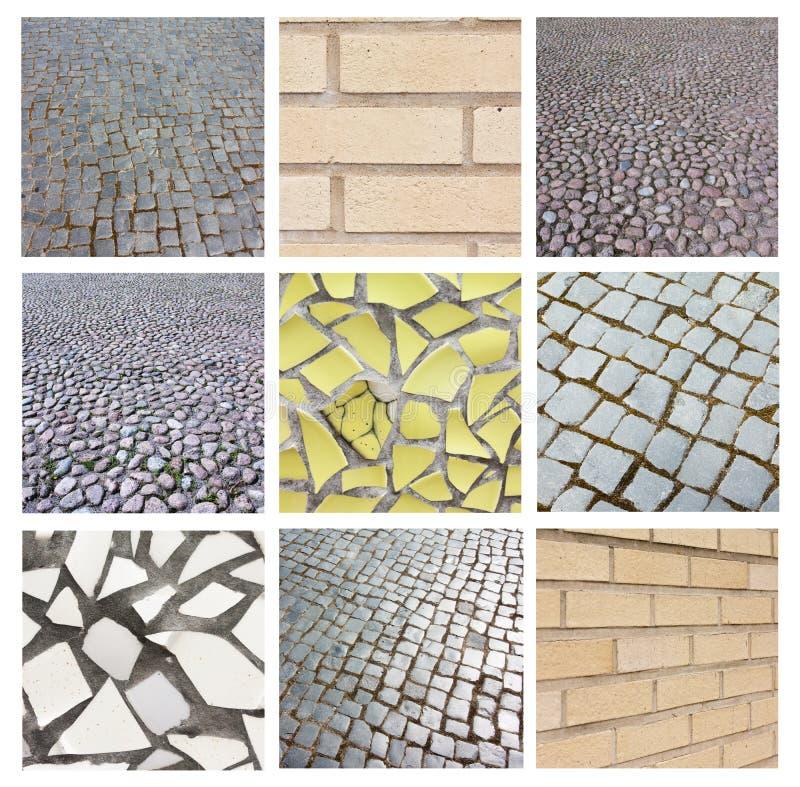 Kolaż tekstury cegła, mozaika i brukowanie, zdjęcia stock