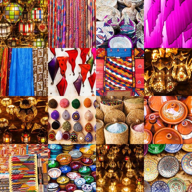 Kolaż tradycyjni Marokańscy rzemiosła obraz royalty free