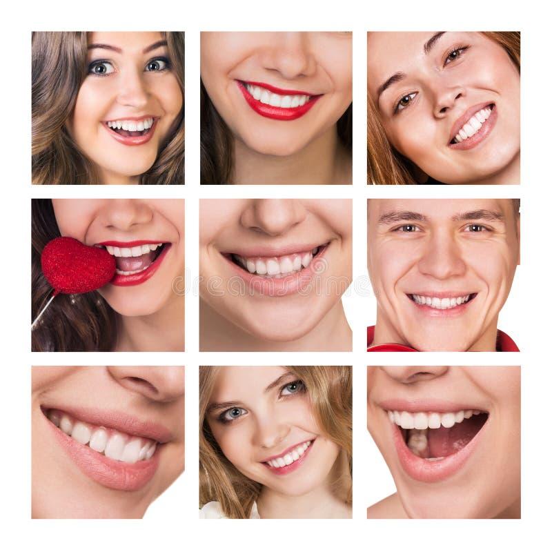 Kolaż uśmiechnięci szczęśliwi ludzie z zdrowymi zębami fotografia stock