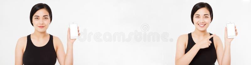 Kolaż uśmiechnięty azjata, koreańska kobieta, dziewczyna wskazuje na smartphone pozyci na białym tło secie pojęcia projekta resta obrazy stock