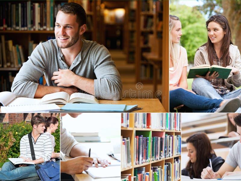 Kolaż uczeń czytelnicze książki obrazy stock