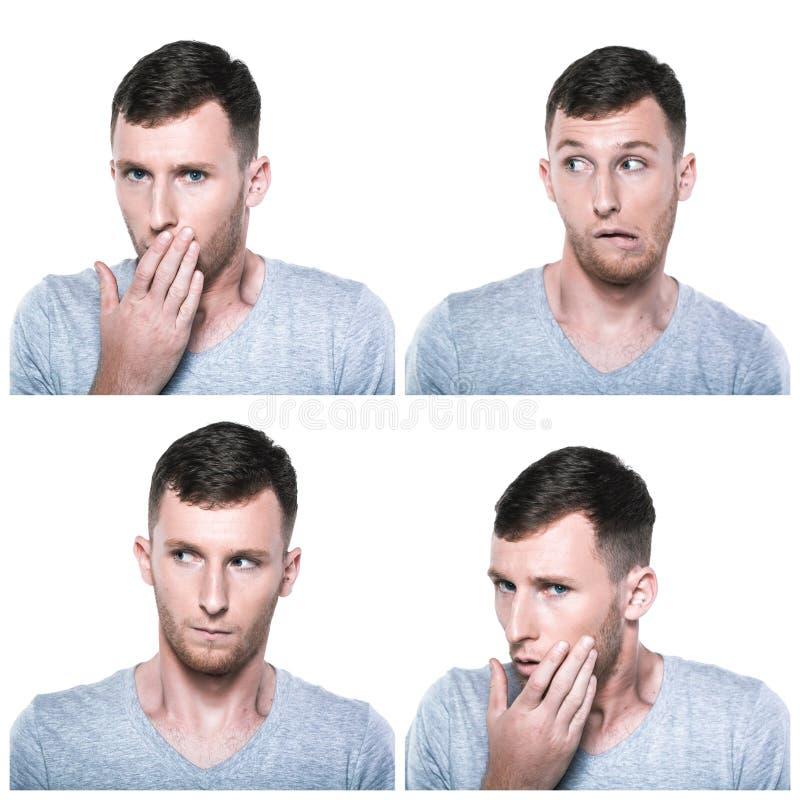 Kolaż unconfident, niepewny, worriedface wyrażenia fotografia stock