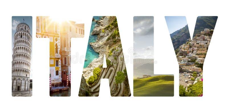 Kolaż ważni Włoscy podróży miejsca przeznaczenia fotografia royalty free