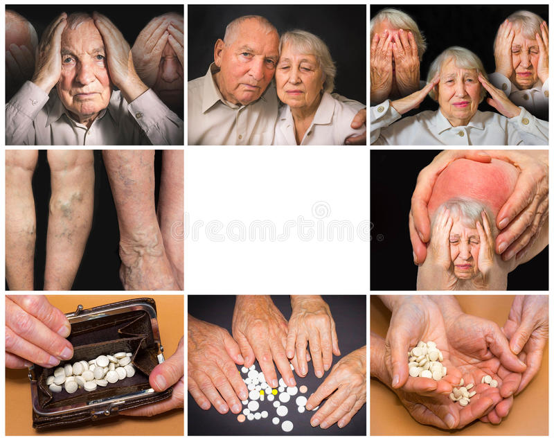 Kolaż wizerunki starsze osoby dobiera się na czarnym tle fotografia stock
