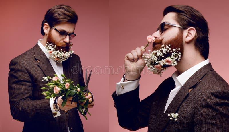 Kolaż z atrakcyjnym brodatym mężczyzną w okularach przeciwsłonecznych i kostiumu, z kwiatami w brodatym, odizolowywający na różow fotografia stock