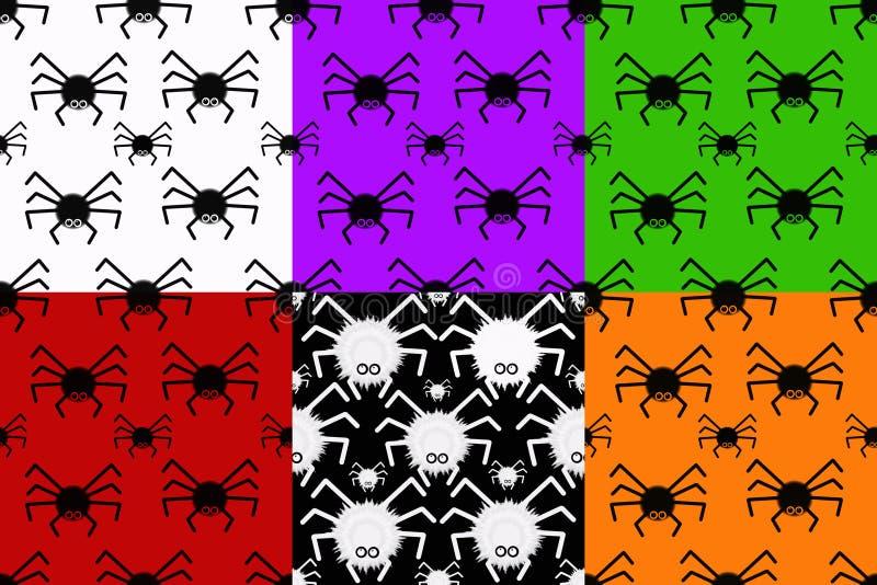Kolaż z bezszwowymi teksturami z pająkami ilustracji
