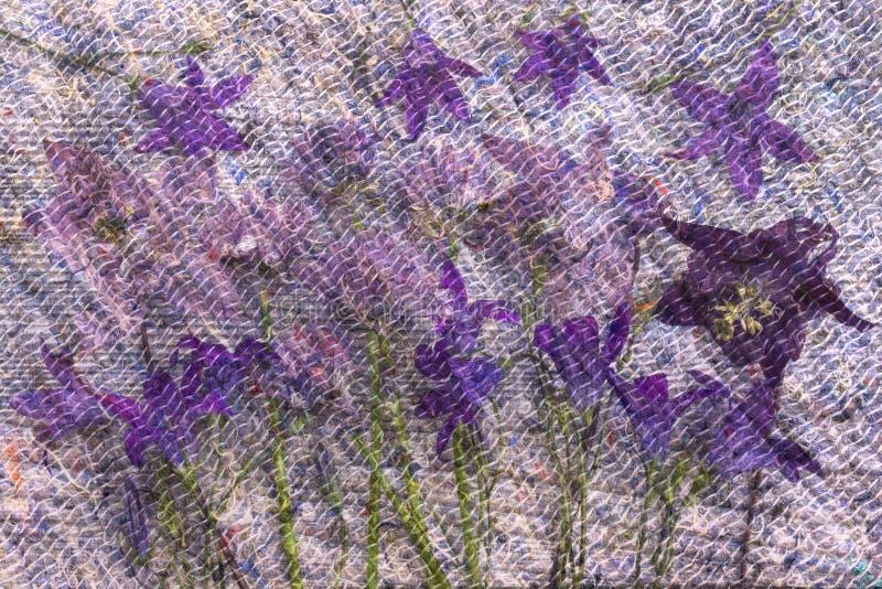 Kolaż z kwiatami i filc wzorem ilustracja wektor