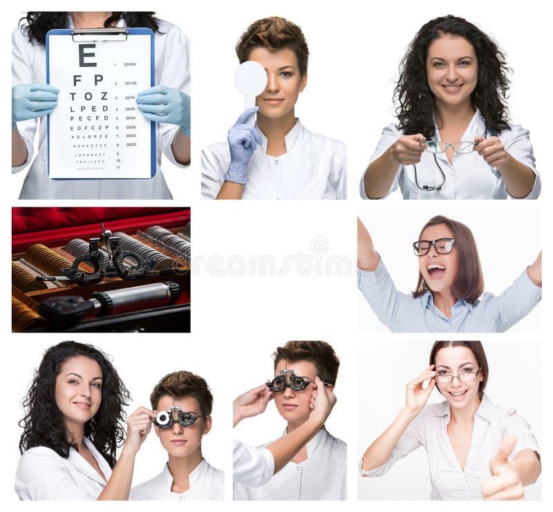 Kolaż z optometrist i szkłami fotografia royalty free
